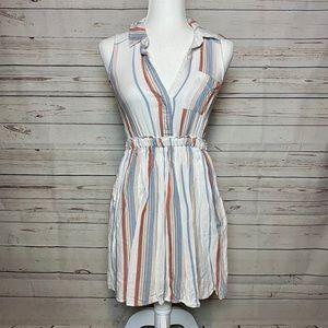 Lulu's Olive & Oak Striped Mini Dress White Sz XS